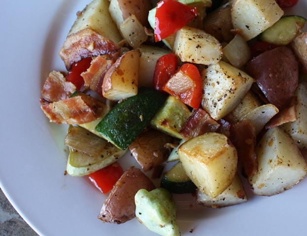 Bacon, Potato and Vegetable Hash recipe by Barefeet In The Kitchen