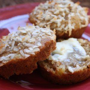 Hawaiian Muffins with Pineapple, Bananas and Coconut