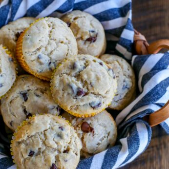 Peanut Butter Banana Muffins - with chocolate chips!