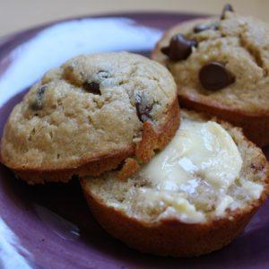 Peanut Butter Chocolate Chip Banana Muffins