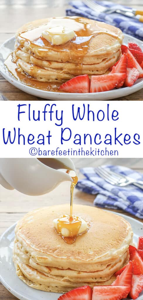 Fluffy Whole Wheat Pancakes are a breakfast favorite! get the recipe at barefeetinthekitchen.com