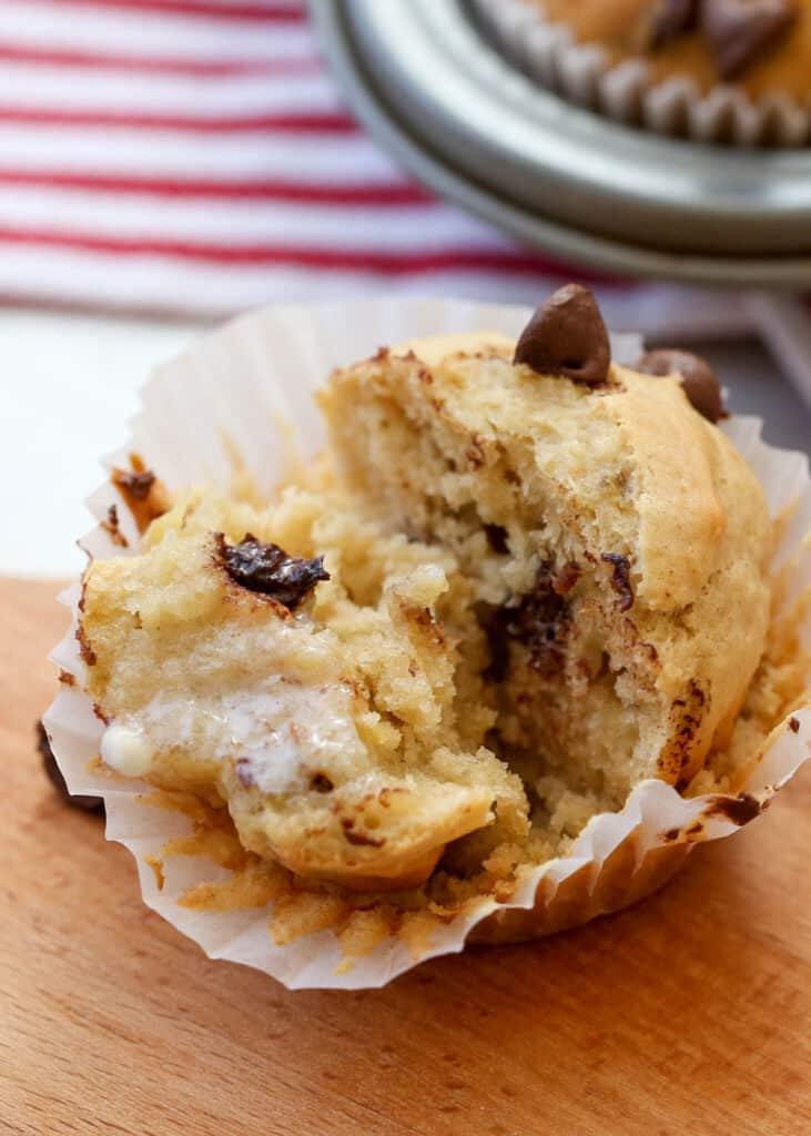 Peanut Butter Chocolate Chip Muffins - get the recipe at barefeetinthekitchen.com