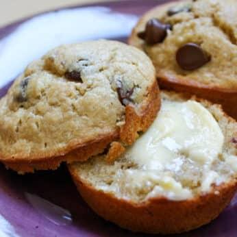 Peanut Butter Chocolate Chip Muffins - get the recipe at barefeetinthekitchen.com