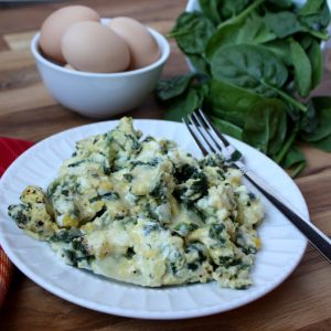 Cheesy Scrambled Eggs with Spinach a.k.a. Power Eggs