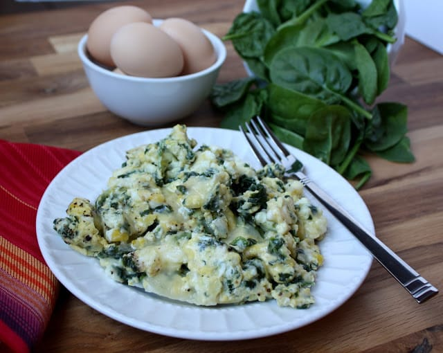 Cheesy Scrambled Eggs with Spinach a.k.a. Power Eggs recipe by Barefeet In The Kitchen