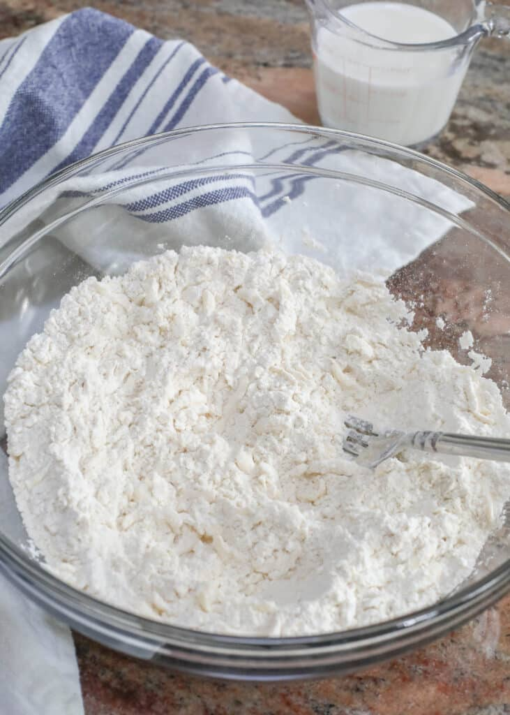 Grated butter mixed into the dry ingredients