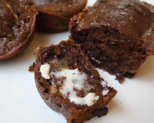 Dark Chocolate Zucchini Muffins (or are they cupcakes?) recipe by Barefeet In The Kitchen