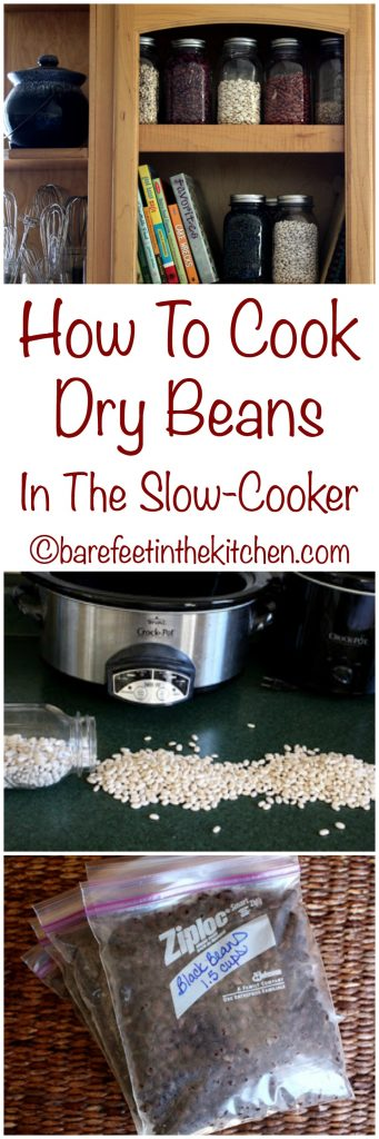 How To Cook Dry Beans In The Slow Cooker - directions at barefeetinthekitchen.com
