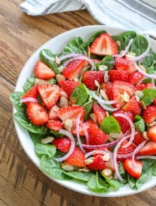 Strawberry Spinach Salad - get the recipe at barefeetinthekitchen.com