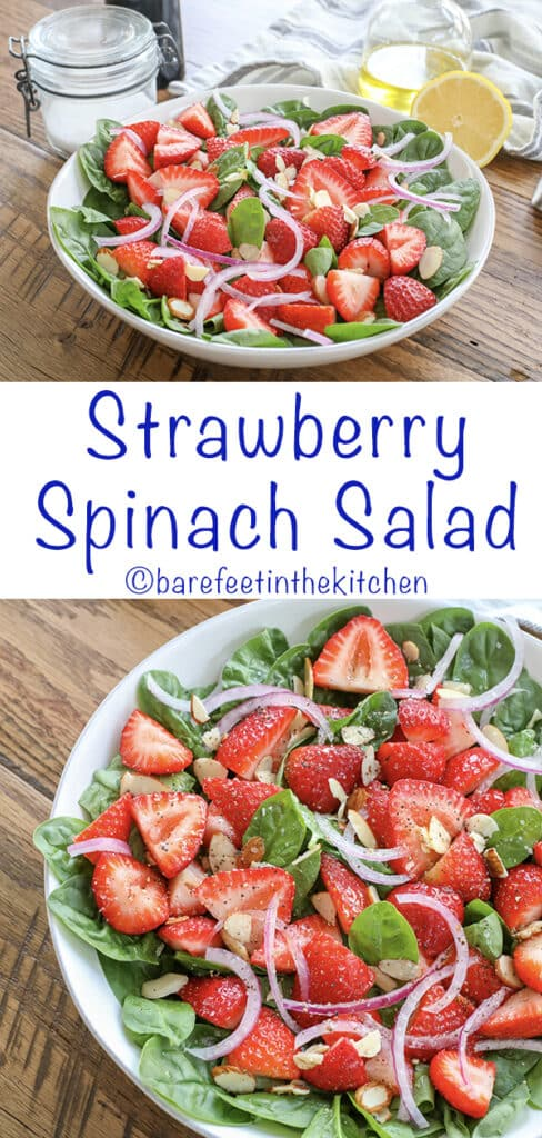 Strawberry Spinach Salad is a classic side dish that never gets old - get the recipe at barefeetinthekitchen.com