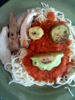 Spaghetti and Marinara with Baby Pattypans recipe by Barefeet In The Kitchen