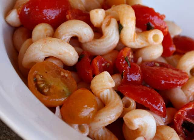 Cavatappi with Sunburst and Grape Tomatoes recipe by Barefeet In The Kitchen