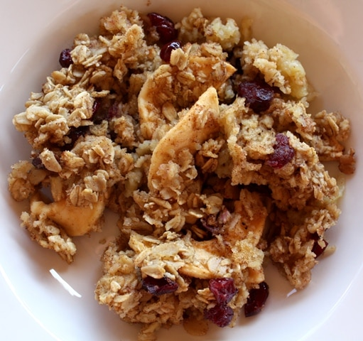 Cinnamon Baked Oatmeal with Dried Apples and Cranberries recipe by Barefeet In The Kitchen