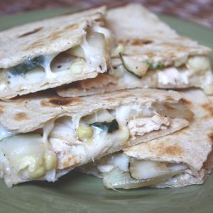 Chicken, Onion, Zucchini and Corn Quesadillas