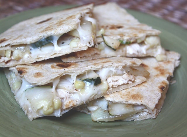 Chicken, Onion, Zucchini and Corn Quesadillas recipe by Barefeet In The Kitchen