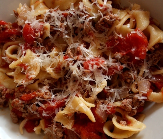 Pasta with Easy Italian Meat Sauce recipe by Barefeet In The Kitchen