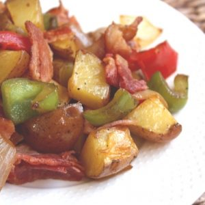 Roasted Potatoes with Bell Peppers, Onions and Bacon