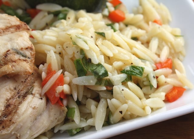 Lemon Butter Orzo with Red Peppers recipe by Barefeet In The Kitchen