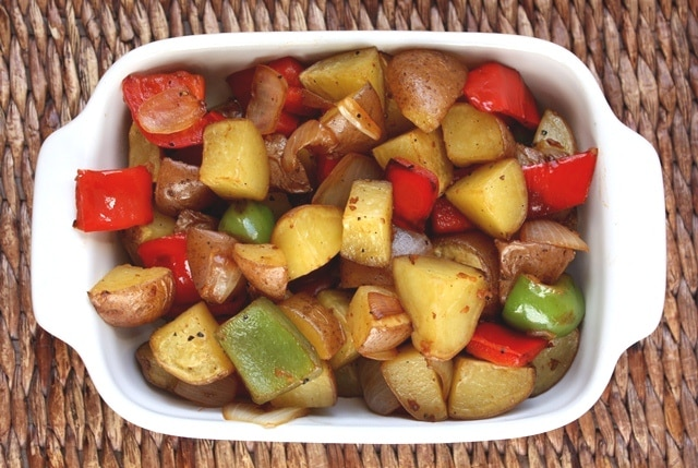 Roasted Potatoes with Bell Peppers, Onions and Bacon recipe by Barefeet In The Kitchen