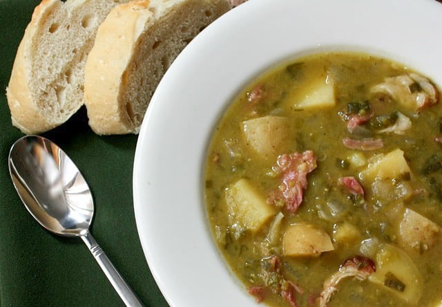 Slow Cooker Split Pea, Potato, Ham and Leek Soup recipe by Barefeet In The Kitchen