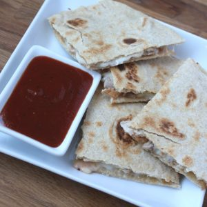 Spicy BBQ Chicken and Mozzarella Quesadillas