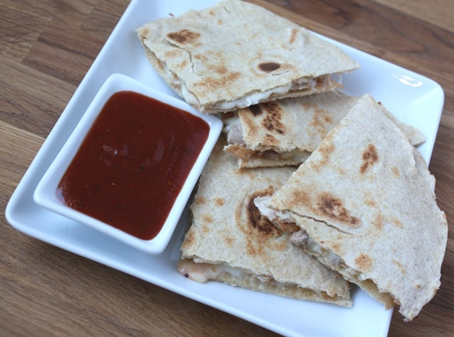 Spicy BBQ Chicken and Mozzarella Quesadillas recipe by Barefeet In The Kitchen