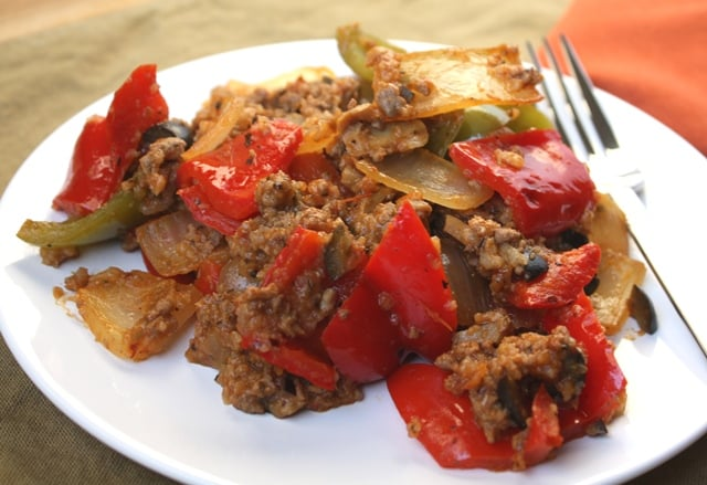 Spicy Italian Bell Pepper and Onion Skillet recipe by Barefeet In The Kitchen