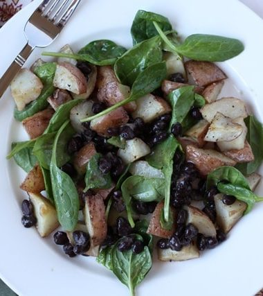 Black Bean, Potato and Spinach Hash