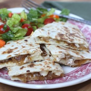 Caramelized Onion and Chicken Quesadillas