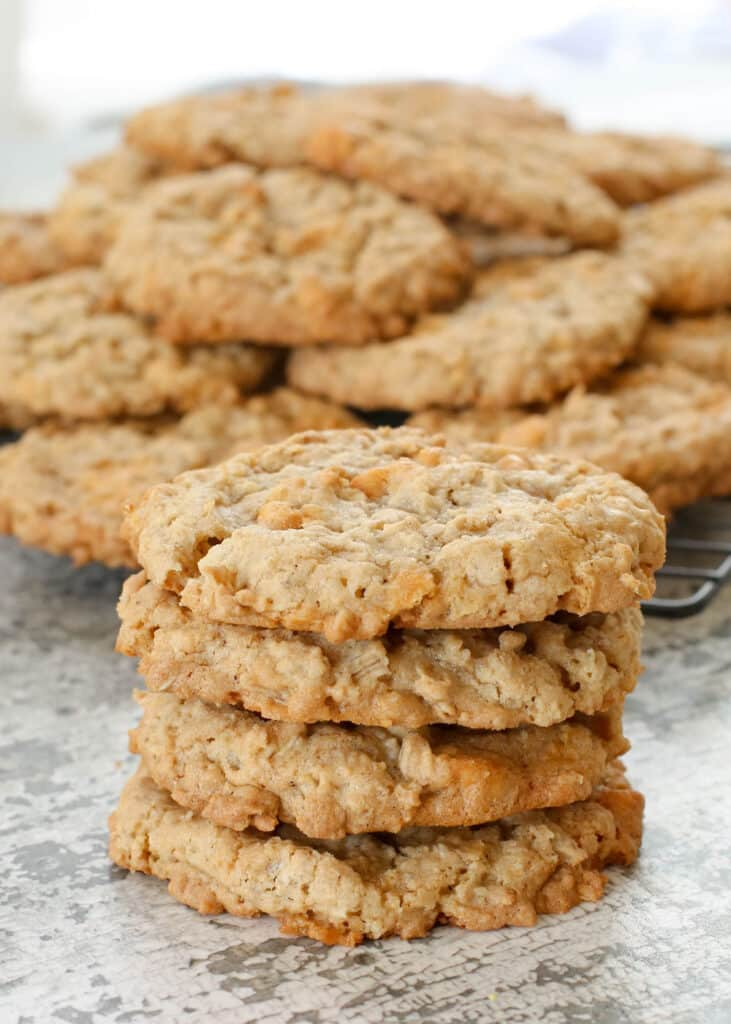 Soft and chewy Oatmeal Butterscotch Cookies! get the recipe at barefeetinthekitchen.com