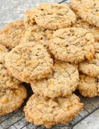 Oatmeal Butterscotch Cookies stay soft and chewy for days! get the recipe at barefeetinthekitchen.com