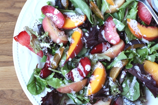 Stone Fruit Salad with Poppyseed Dressing recipe by Barefeet In The Kitchen
