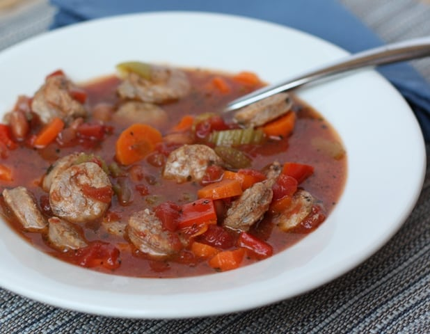 Sausage and Vegetable Soup recipe by Barefeet In The Kitchen