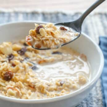 Slow Cooked Oatmeal with Raisins and Almonds is a breakfast treat!
