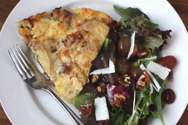 Bacon Caramelized Onion and Potato Frittata recipe by Barefeet In The Kitchen