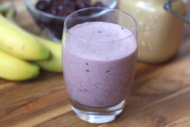 Cherry Peanut Butter Banana Smoothie recipe by Barefeet In The Kitchen