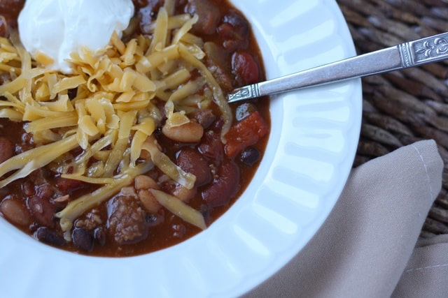 Spicy Five Bean Chili with Steak and Sausage recipe by Barefeet In The Kitchen