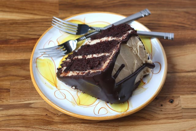 Chocolate Peanut Butter Cake recipe by Barefeet In The Kitchen