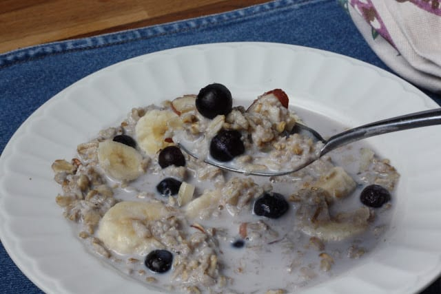 Brown Sugar Blueberry Banana Crockpot Oatmeal recipe by Barefeet In The Kitchen