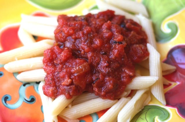 Penne with Bacon Marinara Sauce recipe by Barefeet In The Kitchen