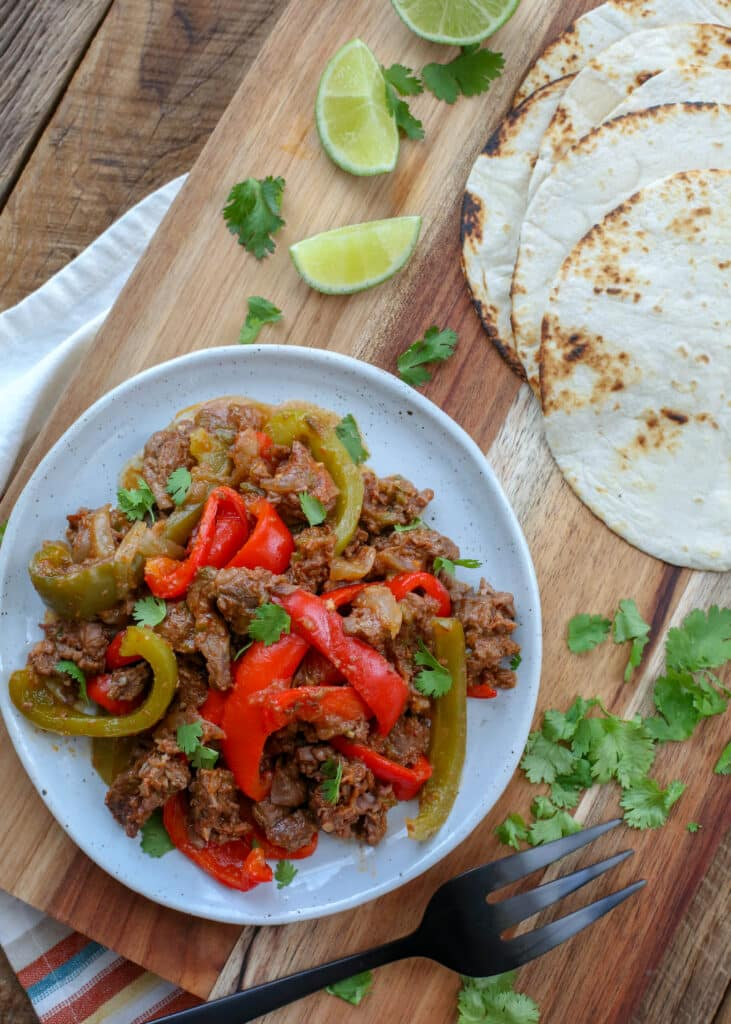 {Slow Cooker} Steak Fajitas - get the recipe at barefeetinthekitchen.com