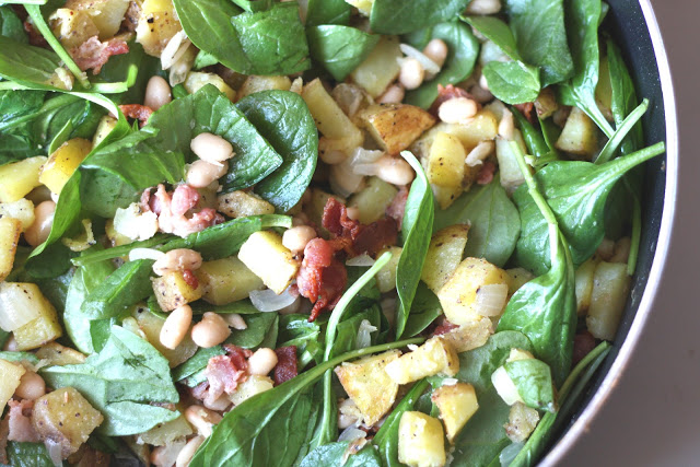 White Bean, Bacon and Potato Spinach Hash recipe by Barefeet In The Kitchen