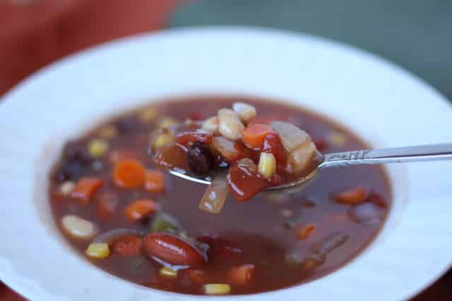 Southwestern Three Bean Soup recipe by Barefeet In The Kitchen