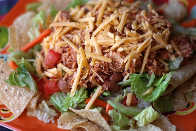 Chicken and Bean Taco Salad - In The Crockpot recipe by Barefeet In The Kitchen