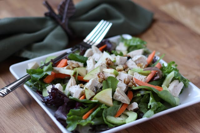 Turkey and Walnut Salad with Cranberry Dressing recipe by Barefeet In The Kitchen