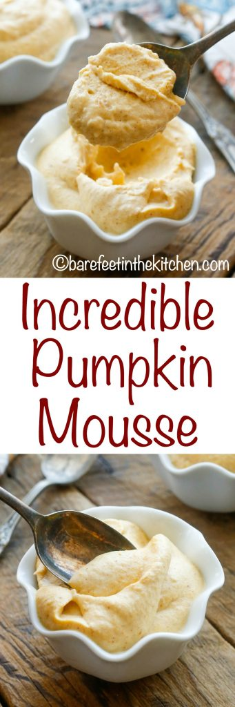Incredible Pumpkin Mousse - get the recipe at barefeetinthekitchen.com