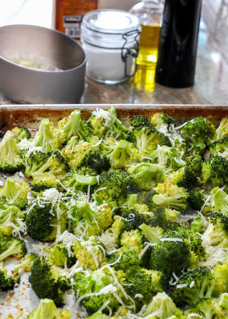 Just a sprinkling of Parmesan on a tray of roasted broccoli takes these simple vegetables to a new level!