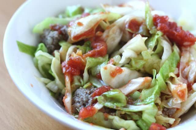Cabbage Ribbons with Sausage and Thyme Marinara Sauce recipe by Barefeet In The Kitchen