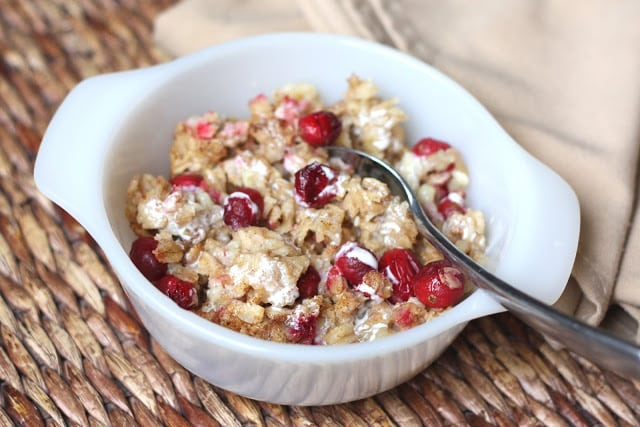 Overnight Baked Oatmeal with Fresh Cranberries recipe by Barefeet In The Kitchen
