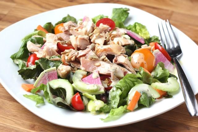 Garden Fresh Chicken and Black Bean Salad recipe by Barefeet In The Kitchen